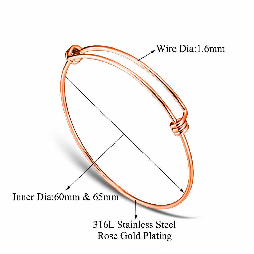 10pcs/lot Grace Moments Bracelet & Bangle 100% Stainless Steel Cuff Bracelets Women Fashion Jewelry Wire Cable Bangle Adjustable