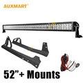 "Auxmart 52"" 300W Offroad Spot Flood Combo Beam LED Light Bar with 2pcs Mounts Bar Holder For Jeep Wrangler JK 2007-2015 4x4"