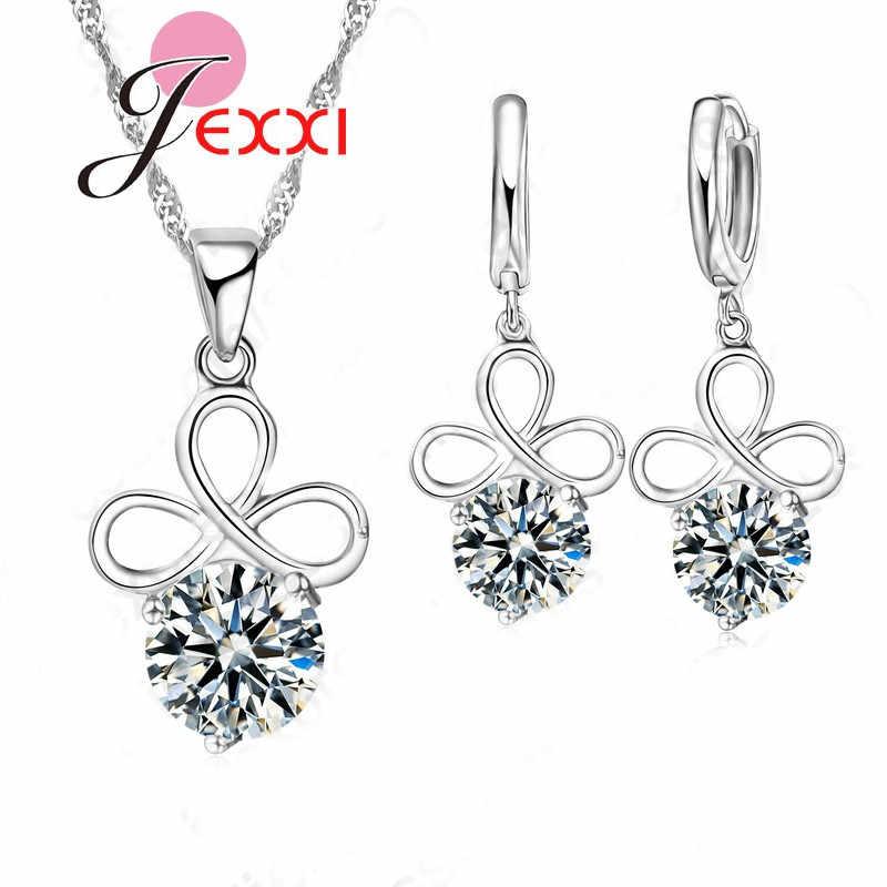 Высокое качество Новый дизайн Настоящее серебро 925 проба цвет ожерелье серьги набор украшений для женщин обручение украшение для банкета