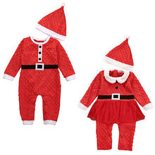 2016 New Christmas Newborn Baby Boys Girls Santa Claus Rompers Hat 2Pcs Outfits Clothes Set 0-24M