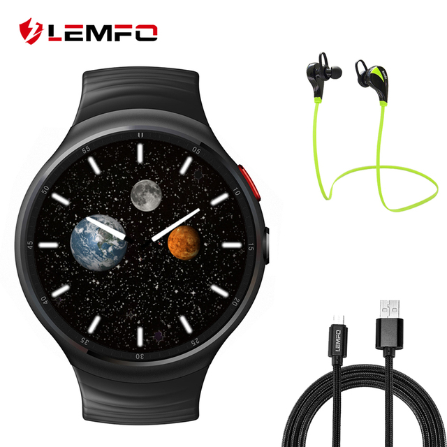Lemfo LES1 Android 5.1 Смарт-часы 1 ГБ + 16 ГБ MTK6580 SmartWatch Phone Support 3 г WiFi GPS Nano sim-карты часы 50 стилей часы режим