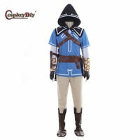 Cosplaydiy The Legend of Zelda Breath of the Wild Link Cosplay Costume Adult Men Halloween Costumes Cape Outfit Custom Made J10