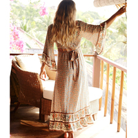 Jastie Floral Print Maxi Gown V Neck 3/4 Sleeve Women Dresses Bohemian Hippie Long Beach Dress 2019 Summer Boho Dresses Vestidos