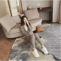 Women Autumn Thin Slim Two Piece Sets Female Cardigan Jacket Beam Pants Sweater Sets Button Casual Solid Knitting Suits