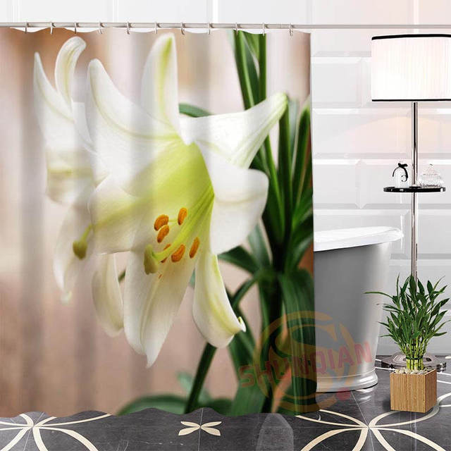 Best Nice Custom Wonderful Lily Flower Shower Curtain Bath Waterproof Fabric For Bathroom MORE SIZE