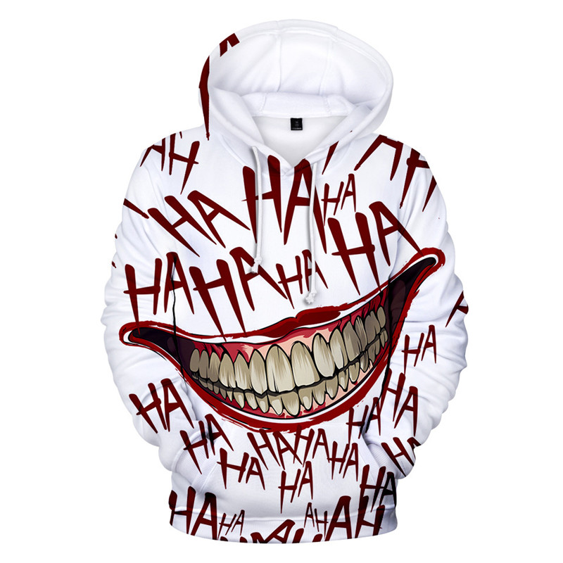 HAHA Joker Funny Hoodie Halloween Crazy Smile Pullover Sweatshirt Fashion Stree Coats Cool 2019 New Sweatshirts Unisex Sportwear