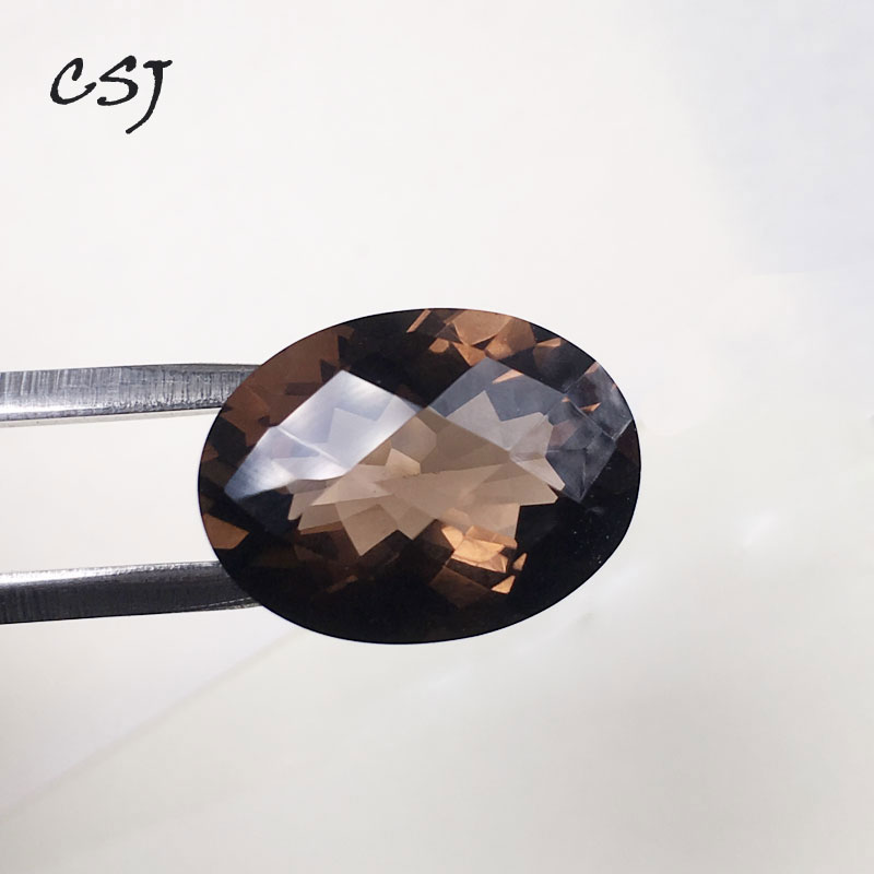 CSJ Natural smoky quartz loose gemstone oval shape cut fine fire for jewelry mounting design DIY stone