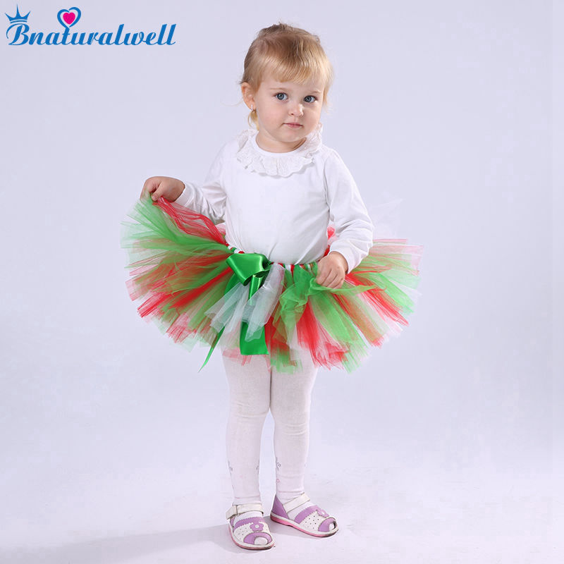 Bnaturalwell Baby Girl Infantiles Equipo de la Navidad Rojo Verde Tutú de Navidad Regalo Recién Nacido apoyo de la foto del bebé regalo de la ducha TT008K
