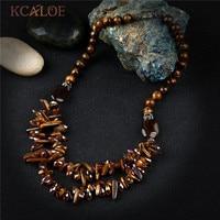 KCALOE Vintage Irregular Natural Stone Necklace Brown Tiger Eye Stones Crystal Choker Women Necklaces & Pendants Collana Donna