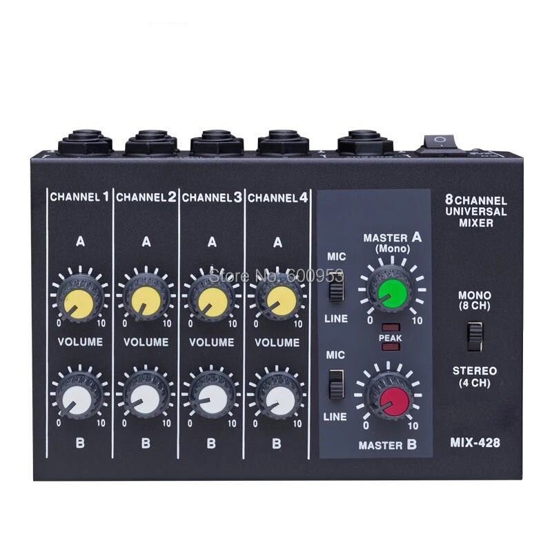 Professional 4 / 8 Channel Audio Mini Mixer effect reverberator 1/4 Power by Battery or DC multifunction Клейкая лента
