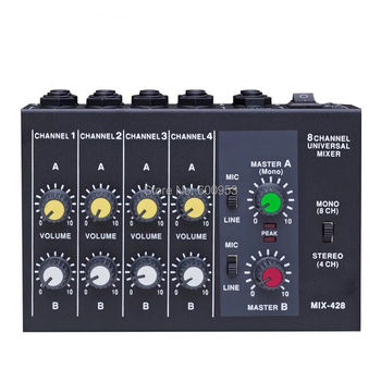 Professional 4 / 8 Channel Audio Mini Mixer effect reverberator 1/4 Power by Battery or DC multifunction