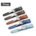 Watchbands 22mm Genuine Calft Leather Watchband Black Alligator Grain Rivet Leather Strap for IWC Big Pilot Steel Button Belt