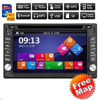 8GB Map Card + Double Din Car Stereo with GPS Navigation 6.2'' HD Touchscreen Auto Radio DVD Player In Dash Bluetooth Headunit