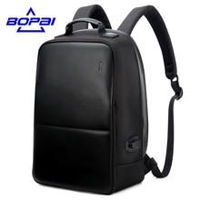 Bopai diebstahl notebook rucksack externe usb port männer leder reiserucksack wasserdicht laptop rucksack schultasche mochila