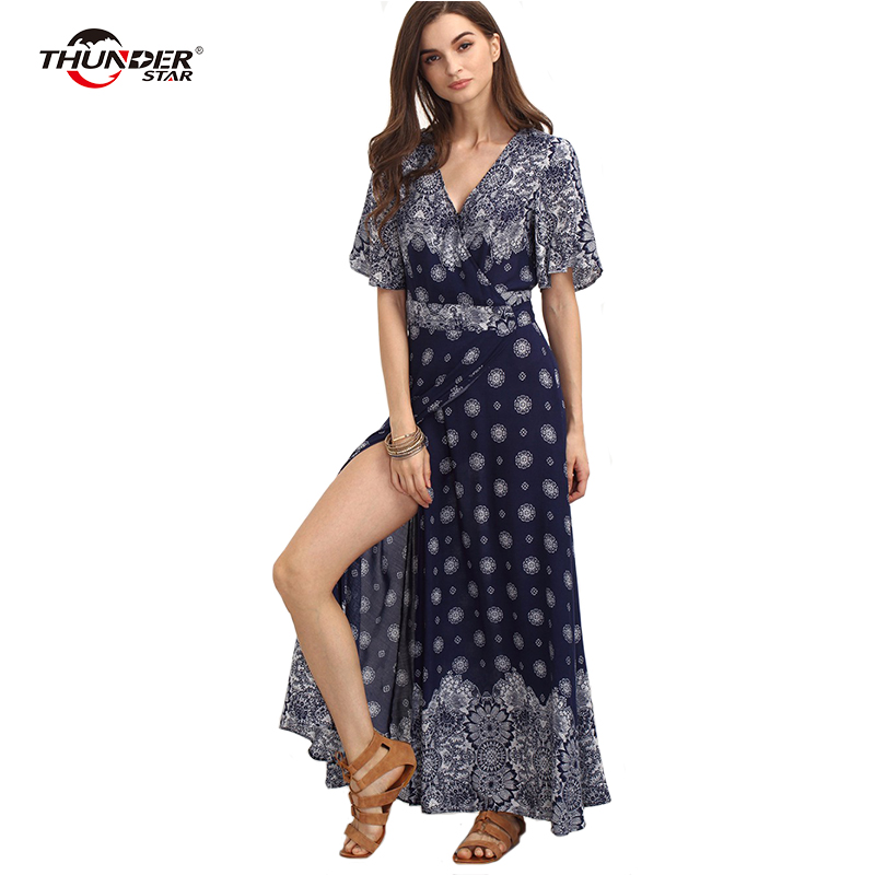2018 Boho floral print chiffon split long dress Women beach summer v neck kimono sexy dress Elegant sash wrap maxi dresses LX5