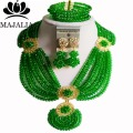 Fashion Nigeria Wedding african beads jewelry set green Crystal necklace Bridal Jewelry sets Free shipping  Aa785