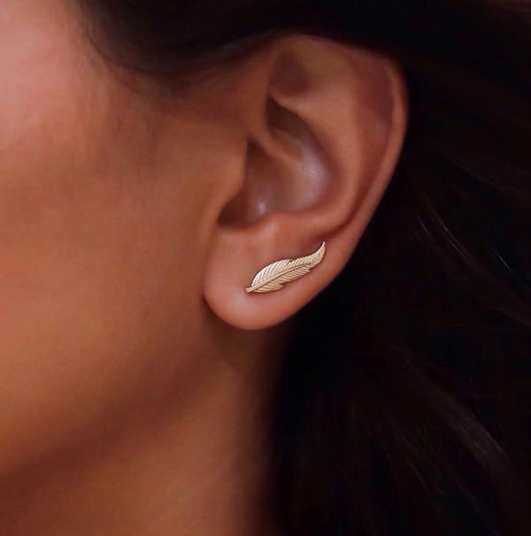 Livraison gratuite 100% 925 sterling argent promotion plume longue shinny argent balayage longue oreille fil femmes boucle d'oreille