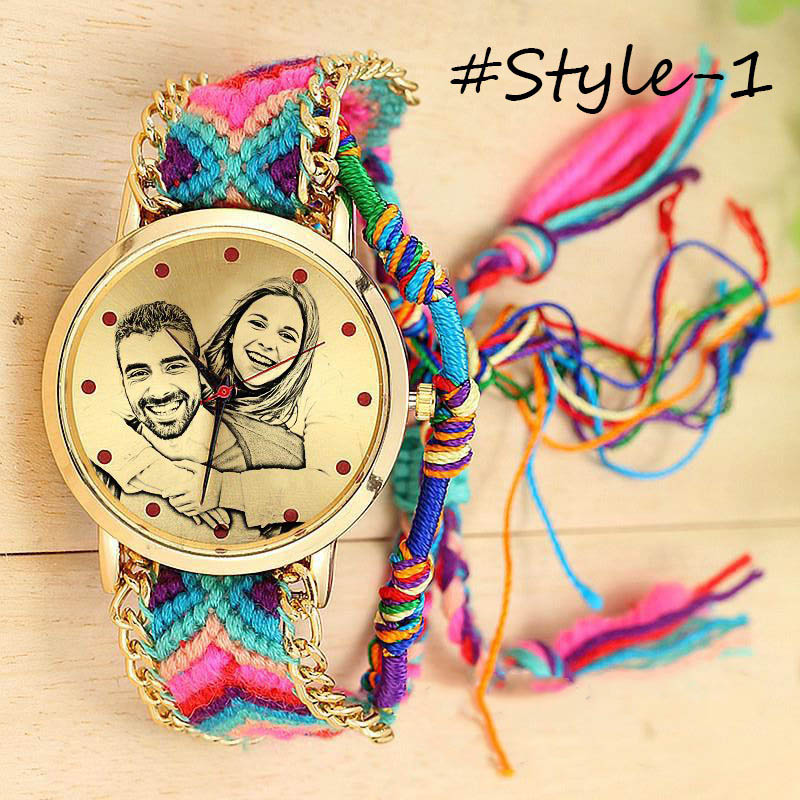 Amxiu Custom Photo Watch Accessories Personalized Handmade Braided Rope Adjustable Watchband Quartz Watch For Women Lovers Gifts