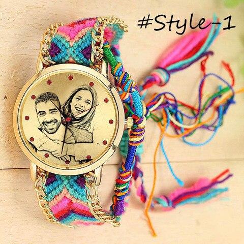 Pulseira de Relógio de Quartzo para os Amantes para Mulheres Amxiu Foto Personalizada Acessórios Relógio Personalizado Corda Artesanal Trançado Ajustável Presentes