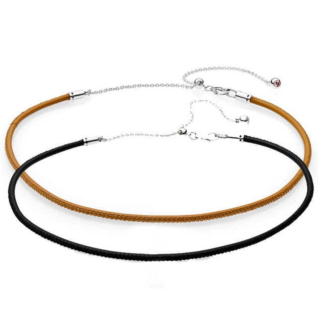 9c8e1dcae ... canada new 925 sterling silver necklace leather choker with adjustable  sliding clasp necklace for women wedding