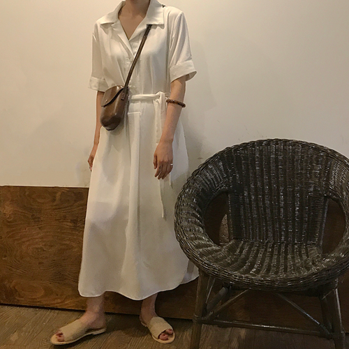 Women summer  Long Shirt Dress White Pink Solid short Sleeve Single Breasted Straight Pullover Casual Maxi Long Dress