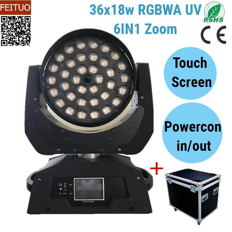 NO Tax 2pcs Lyre LED 36 Zoom Wash Moving Head 36x18w 6IN1 RGBWA UV Stage Light Effects DMX Touch Screen DJ Lighting