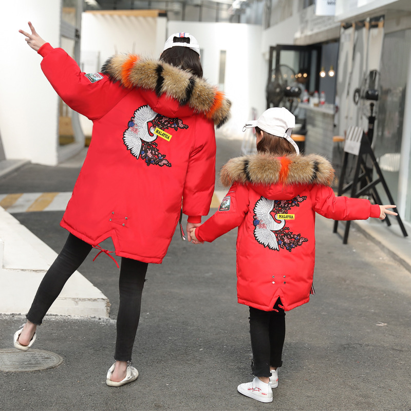 7-20 Years Girl Winter Coat Children's Down Jacket Hooded Big Fur Collar Teenager Kids Outerwear & Coats Girls Thick Warm Parkas 2017 winter women jacket down new fashion long sleeve hooded thick warm short coat slim big yards female autumn parkas ladies242