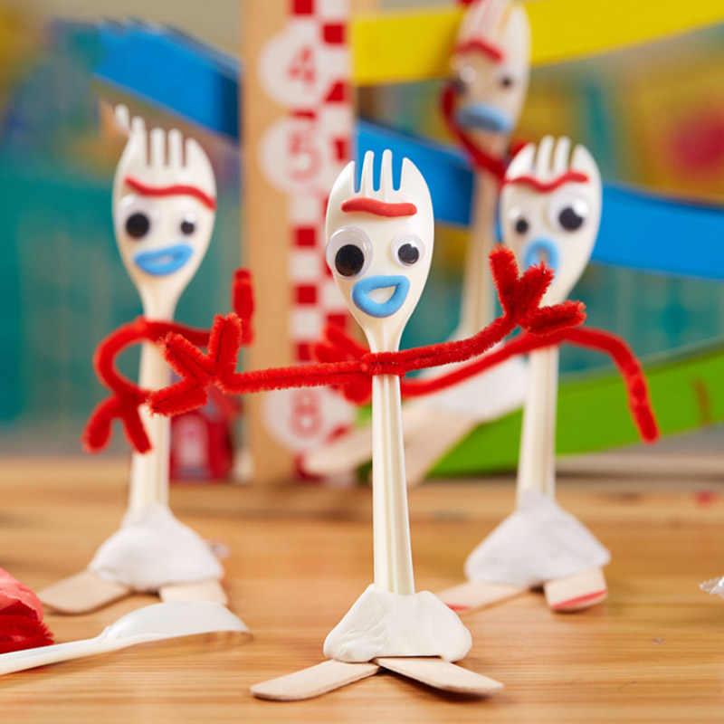 Diy Toy Story 4 Forky 14 centímetros Dos Desenhos Animados Buzz Lightyear Woody Jessie Slinky Dog Action figure collectible Boneca brinquedos para crianças
