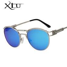 XIU 2018 NOVA Steampunk óculos de Sol Das Mulheres Dos Homens de Metal Oval  Marcas Moda Óculos UV400 Lente Polarizada óculos de . c8daef80cb