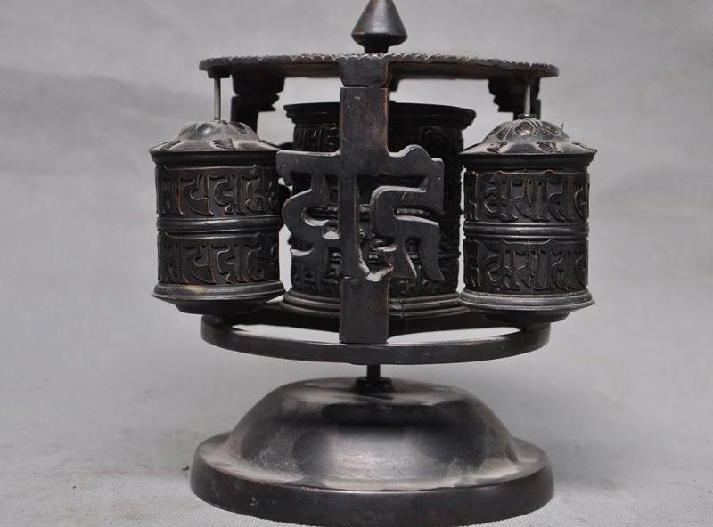 Old Tibet Tantra Temple pure bronze Mantras Buddhism Tripitaka text Prayer wheel
