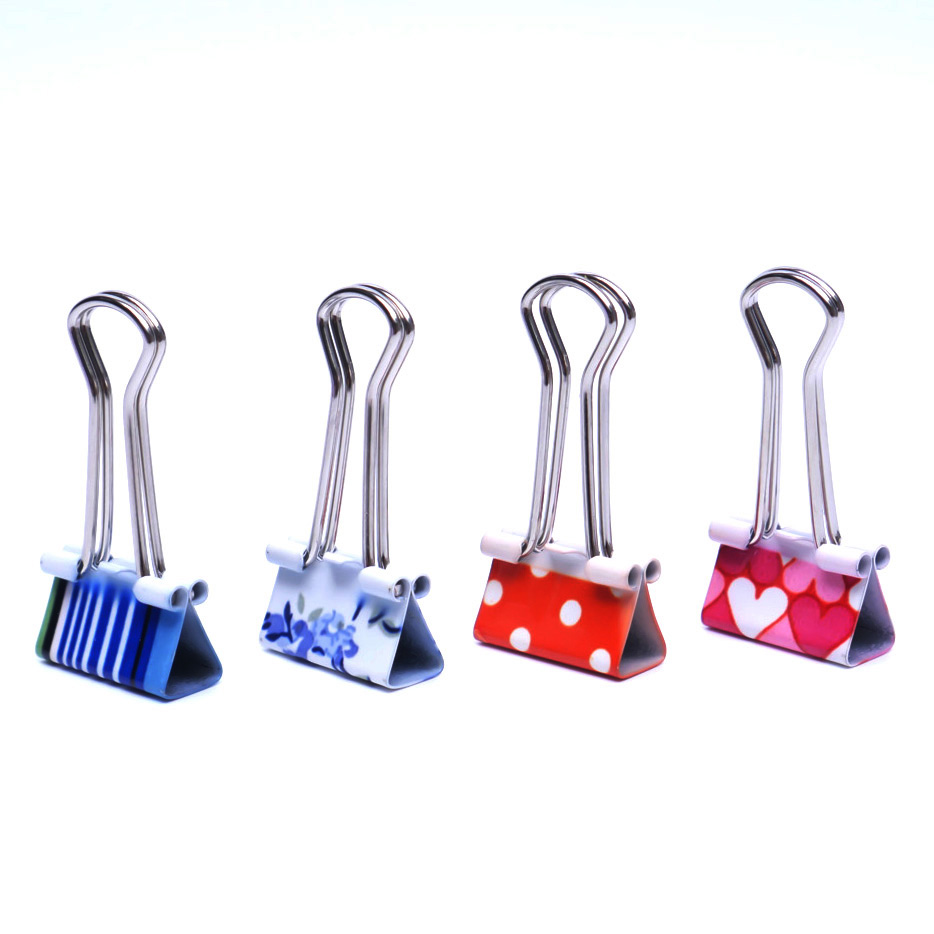 4pcs Small Size Fresh Style Printed Metal Binder Clips