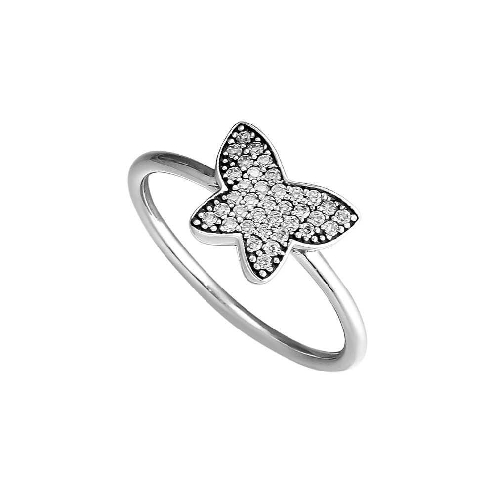 แหวนผีเสื้อ 100% 925 สเตอร์ลิงเงิน Cz จัดส่งฟรี