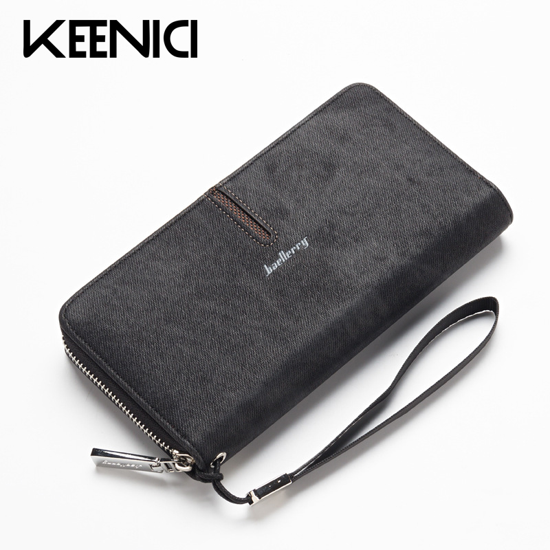 Baellerry Long Wallet Pu Leather Men Handbag Soft Leather Men Wallets Zipper Clutch Coin Purse Multi-card Bit Mens Purses QL