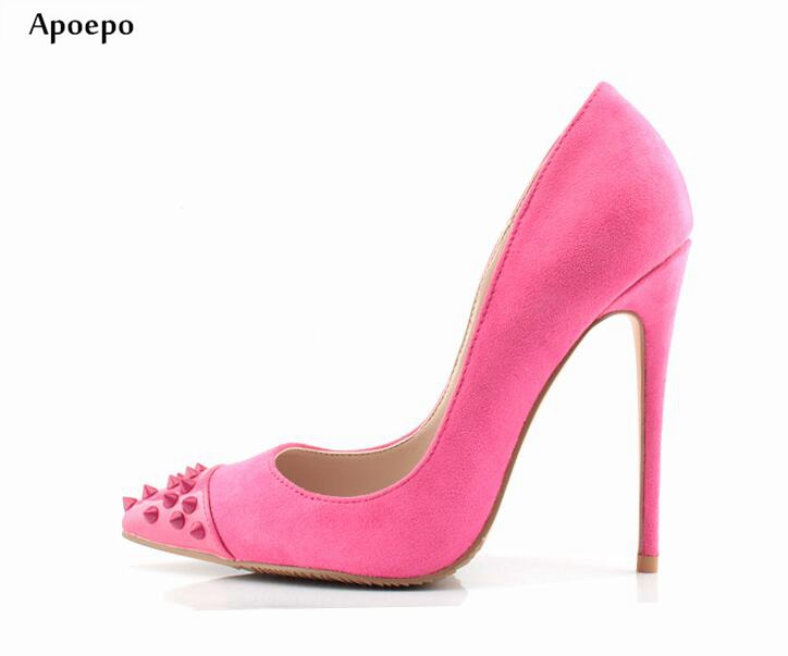 New Sexy Pointed Toe High Heels 2018 Rivets Studded Pink Thin Heels Shoes Woman Fashion Pumps Shallow Mouth Party Dress Shoes