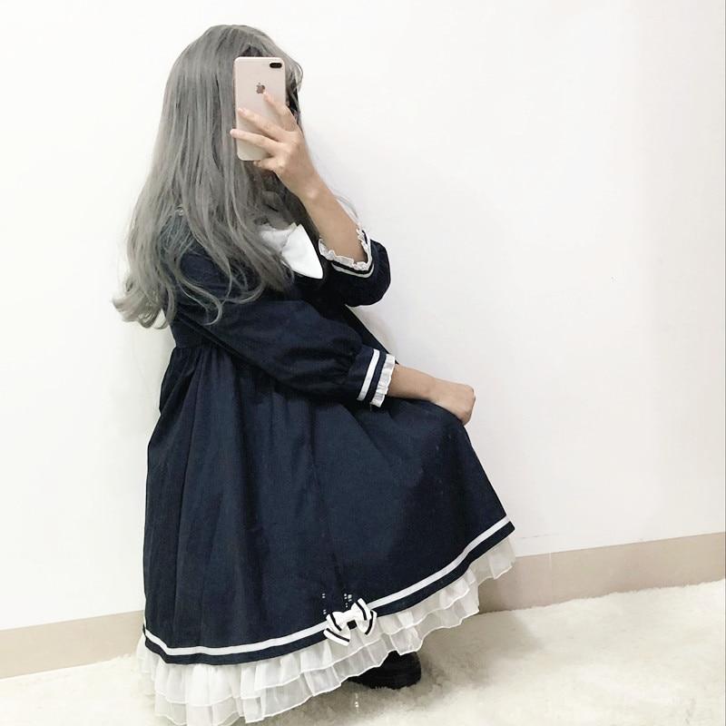 127c5ba07ed Belle Marine Arc Jk Mode Col Lolita Robes Dentelle Preppy Short Kawaii  Harajuku Robe Marin long ...