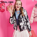 ERAL Women's Winter New arrival 2016 Thickening Down Coat Slim Hand-Painted Print High Quality Short Down Jacket ERAL12048-EDAD