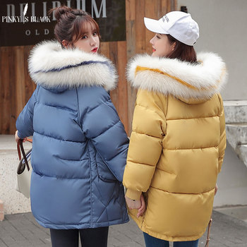 PinkyIsBlack New 2019 Long Parkas Female Women Winter Jacket Coat Fur Hooded Thick Down Cotton Warm Jacket Women Outwear Parkas new large fur down jacket winter women 2020 new fashion loose hooded cotton padded jacket coat female thick long parkas outwear