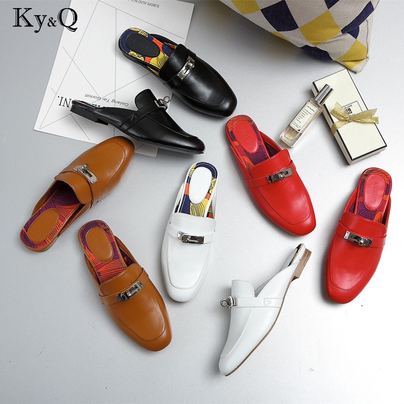 New fashion women mules slippers genuine leather cow leather solid metal decoration floral inside low flat with women slippers new leather fashion women s cool slippers head layer cowhide women s slippers