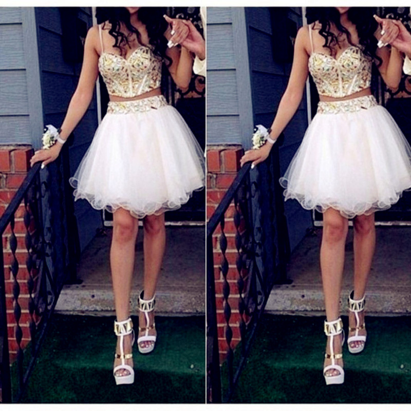 robe bal de promo a line two pieces gold and white prom dresses knee length sweetehart party