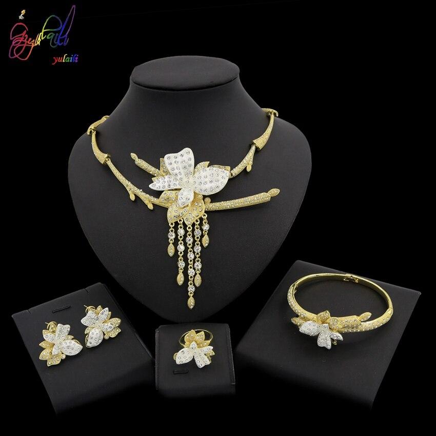 Yulaili Unique fleur Design or pur Dubai bijoux ensemble anniversaire bijoux ensemble de quatreYulaili Unique fleur Design or pur Dubai bijoux ensemble anniversaire bijoux ensemble de quatre
