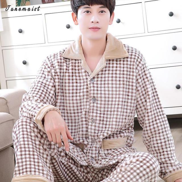 ebd6fa66d5af Male Thick Flannel Pajama Sets Turn Down Collar Two Pieces Pajama suit Men  Nightwear Pyjamas Set