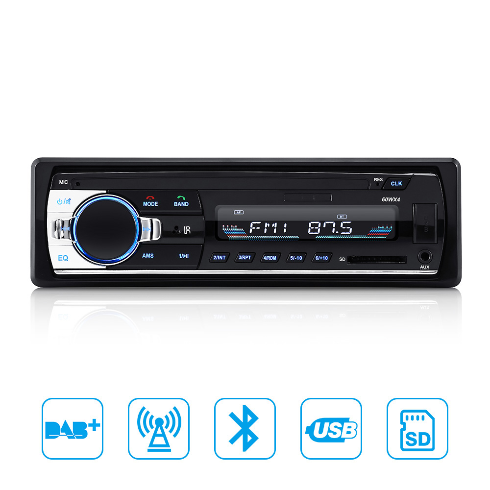1DIN Car Bluetooth Radio Audio Stereo Radio DAB Function Iuput Receiver SD USB Auto Radio MP3 Player FM With remote Control tivdio v 116 fm mw sw dsp shortwave transistor radio receiver multiband mp3 player sleep timer alarm clock f9206a