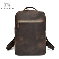Рюкзак для ноутбука, коричневый рюкзак из натуральной кожи Crazy Horse, мужская сумка на плечо, мужской рюкзак для путешествий, школьные сумки дл