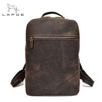Тетрадь Рюкзак коричневый Crazy Horse из натуральной кожи рюкзак Для мужчин сумка Мужской Рюкзак Путешествия Школьные сумки для подростков