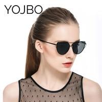 YOJBO 100 UV Sunglasses Women Polarized 2017 Fashion Mirror Glasses Brand Designer Retro Vintage Cat Eye