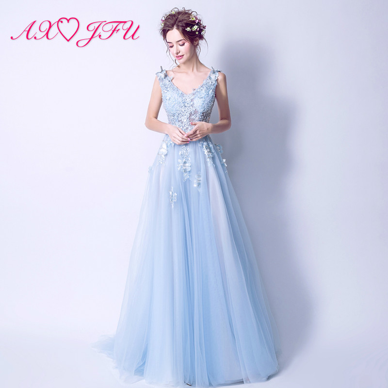 AXJFU Clavicle sexy deep V collar blue lace   evening     dress   butterfly bride blue flower   evening     dresses   1333