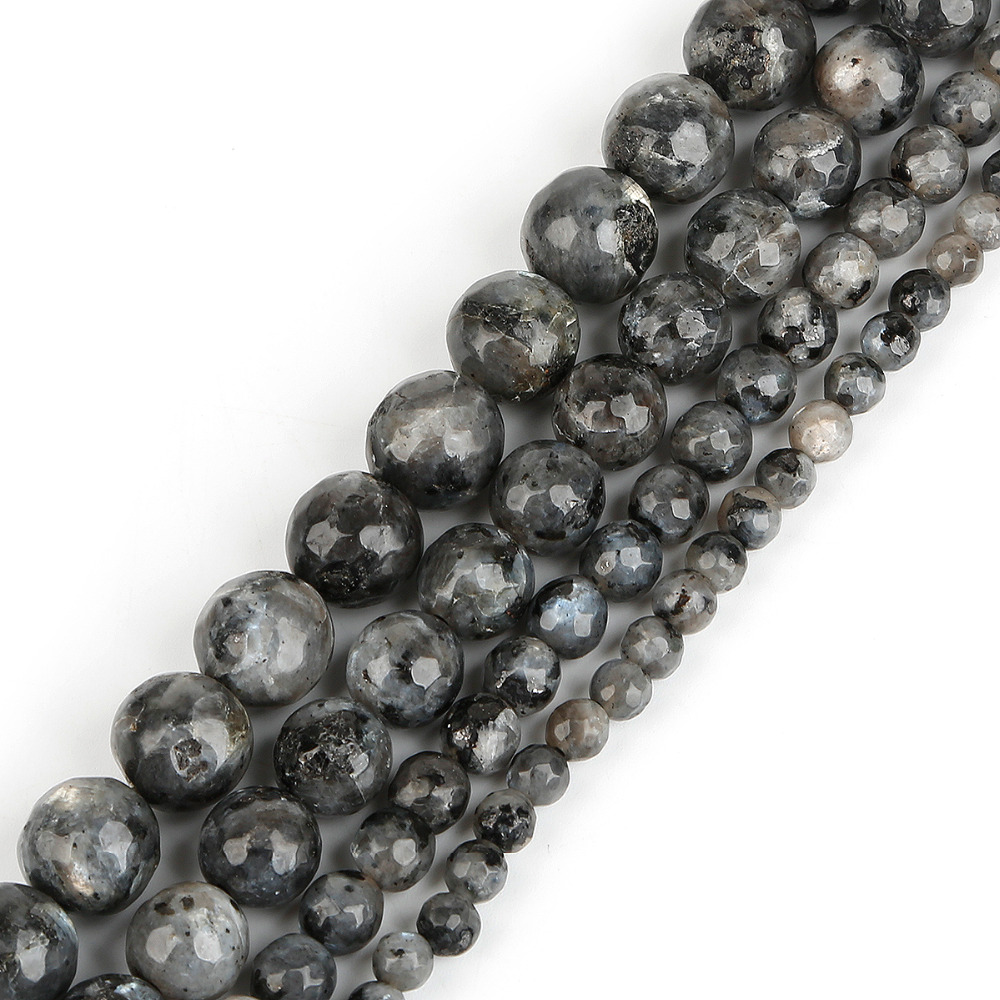 Natural Stone Beads 4/6/8/10mm 15'' Faceted Black ...