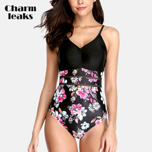 Charmleaks Womens One Piece Hollow out Swimwear Vintage Floral Print Swimsuit Bandaged Bathing Suit Sexy Monokini