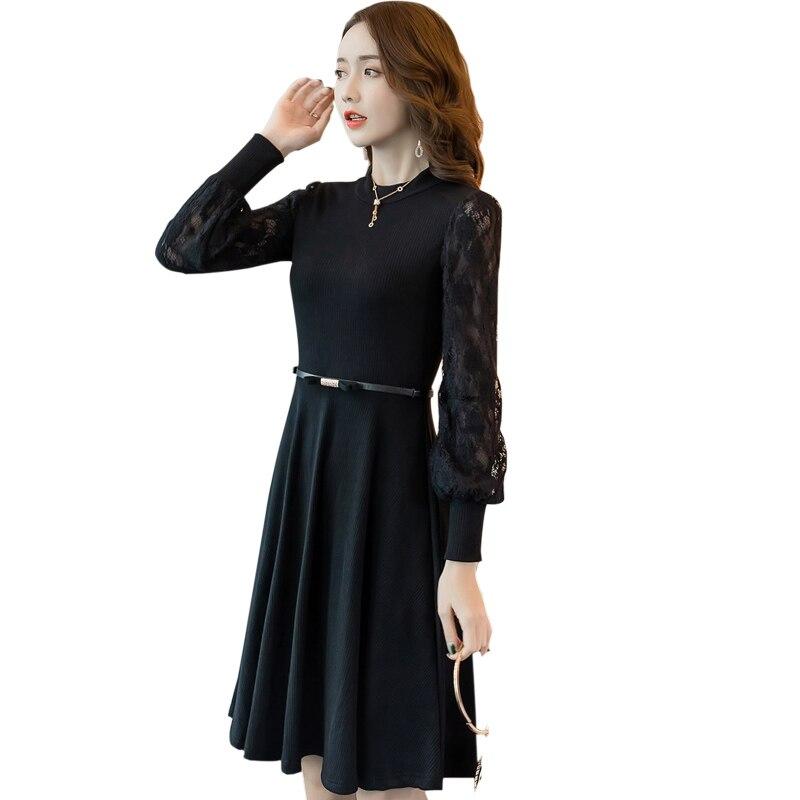 Dames hiver robe dentelle lanterne manches tricoté robe taille pincée élégante robe mi-longue cultivé une-pièce robe grande taille 4XL
