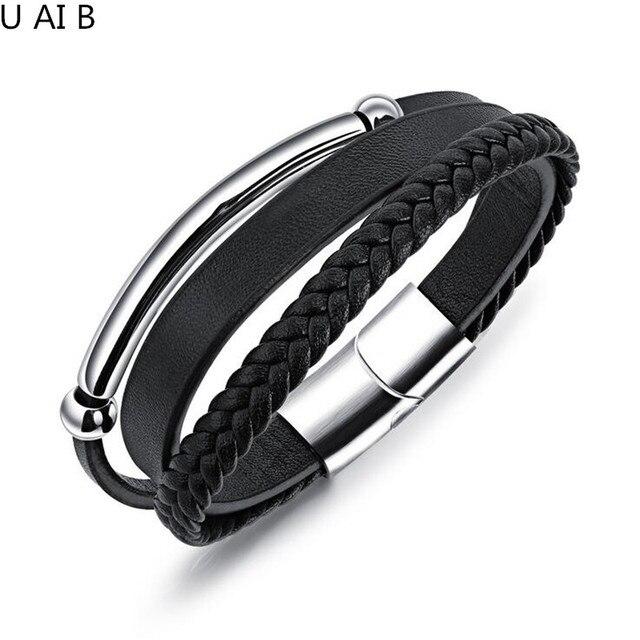Men S Leather Bracelets Bangles Simple Magnetic Buckle Anium Bracelet Luxury Brand Jewelry Designer Fashion Bangle